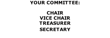 YOUR COMMITTEE:  CHAIR																							      VICE CHAIR					   	 							 TREASURER				  							     SECRETARY